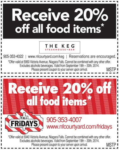 The KEG & TGI Friday's Coupons by Marriott Niagara Falls - Barrelman